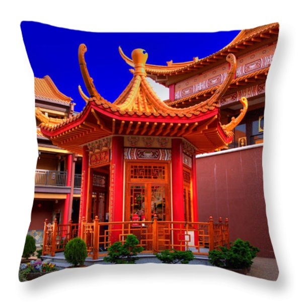 Lingyen Mountain Temple 32 Throw Pillow by Lawrence Christopher