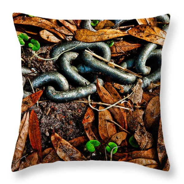Links And Leaves Throw Pillow by Christopher Holmes