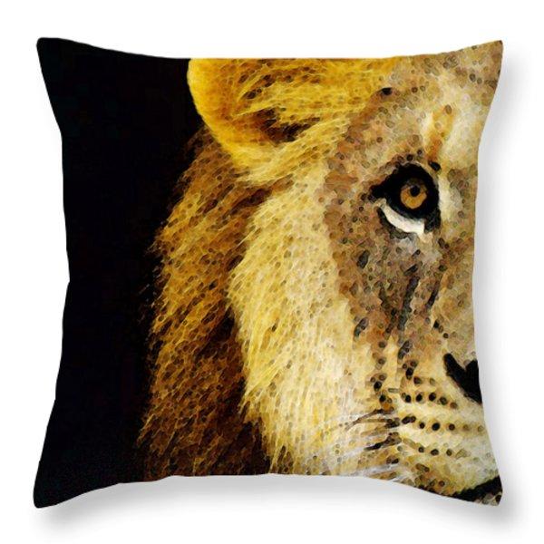 Lion Art - Face Off Throw Pillow by Sharon Cummings