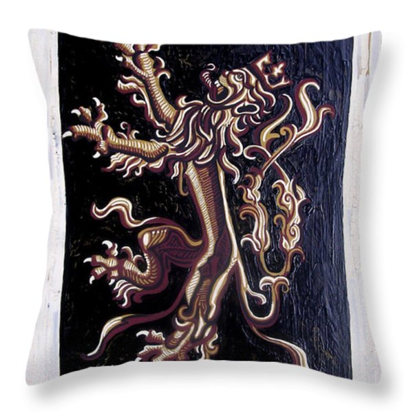 Lion Rampant Throw Pillow by Genevieve Esson