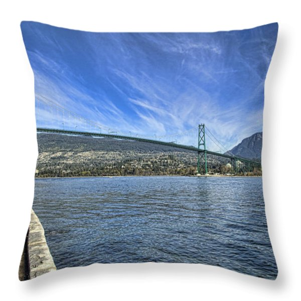 Lions Gate Bridge Throw Pillow by Mauro Celotti
