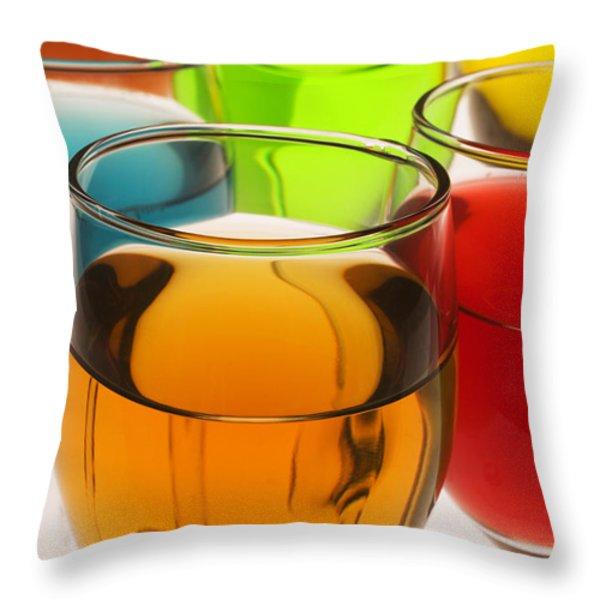 Liquor Glasses Throw Pillow by Garry Gay
