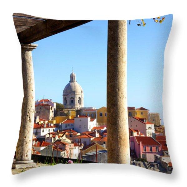 Lisbon View Throw Pillow by Carlos Caetano