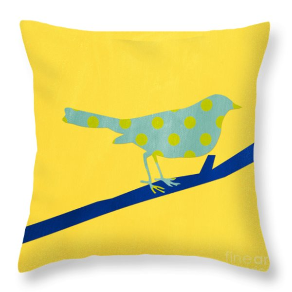 Little Blue Bird Throw Pillow by Linda Woods