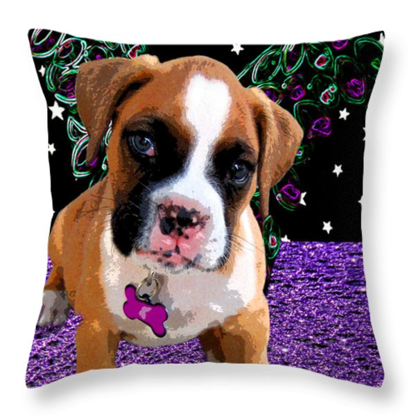 Little Boxer Butterfly Throw Pillow by Tisha McGee