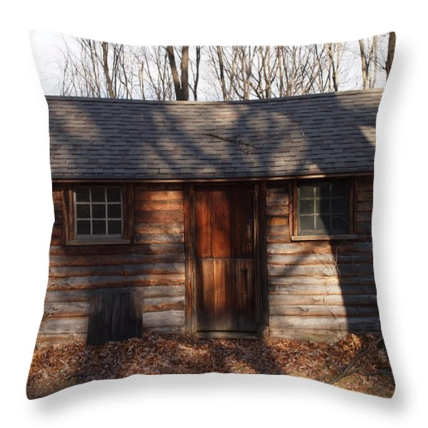 Little Cabin In The Woods Throw Pillow by Robert Margetts