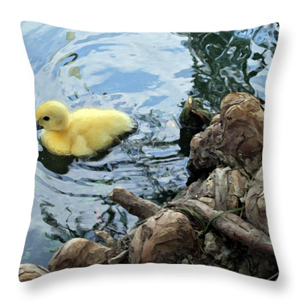 Little Ducky Throw Pillow by Angelina Vick