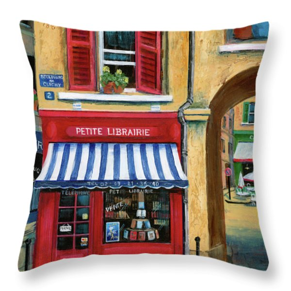 Little French Book Store Throw Pillow by Marilyn Dunlap