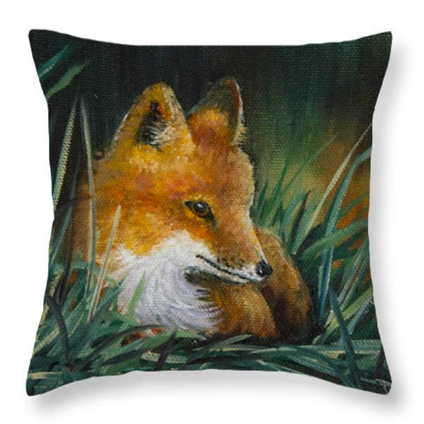 Little Kit Throw Pillow by Dee Carpenter