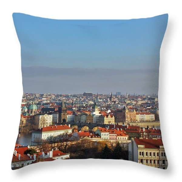 Little Mother Prague Throw Pillow by Christine Till
