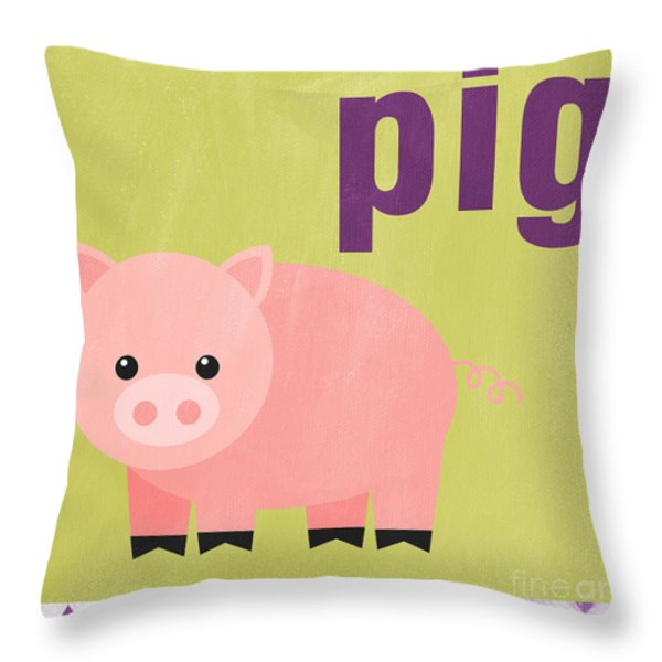 Little Pig Throw Pillow by Linda Woods