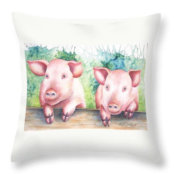 Little Piggies Throw Pillow by Lyn DeLano