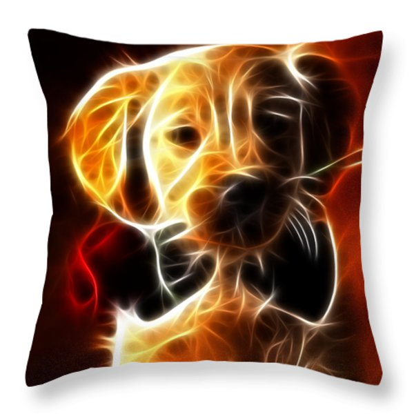 Little Puppy in Love Throw Pillow by Pamela Johnson