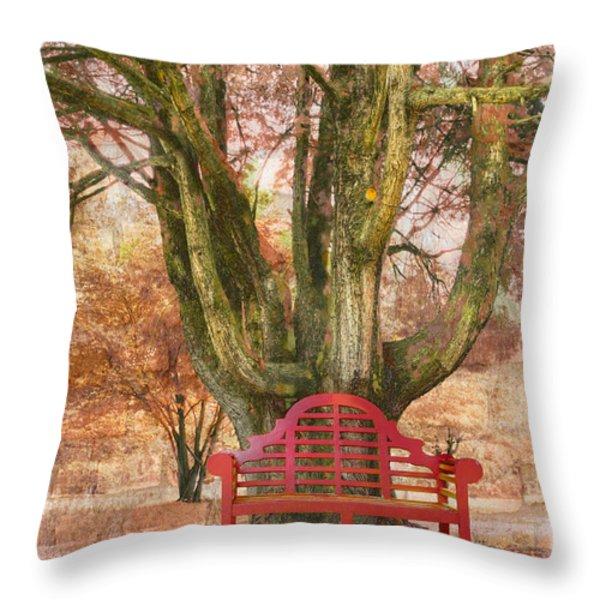 Little Red Bench Throw Pillow by Debra and Dave Vanderlaan