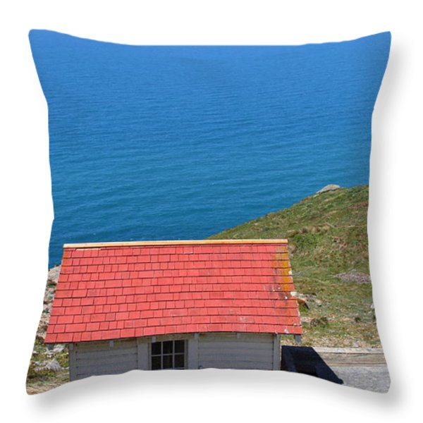 Little Shack At The Point Reyes Lighthouse in California . 7D16020 Throw Pillow by Wingsdomain Art and Photography