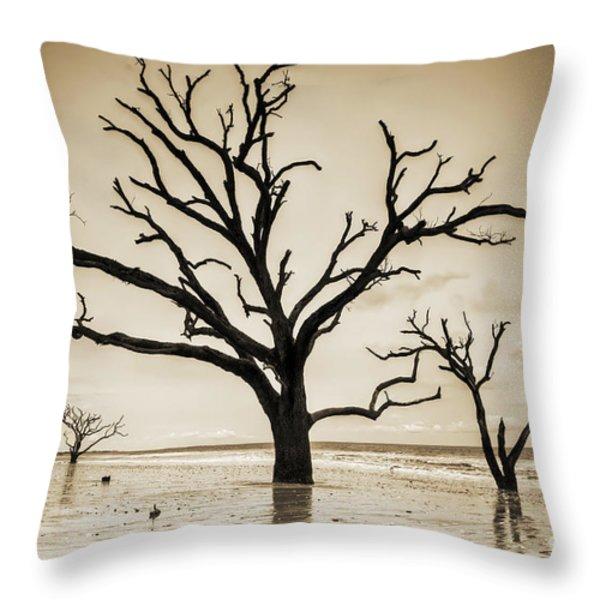 Live Oaks Of Botany Bay Beach Sc Sepia Throw Pillow by Dustin K Ryan