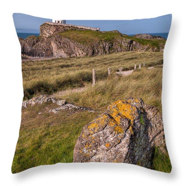 Llanddwyn Rock Throw Pillow by Adrian Evans