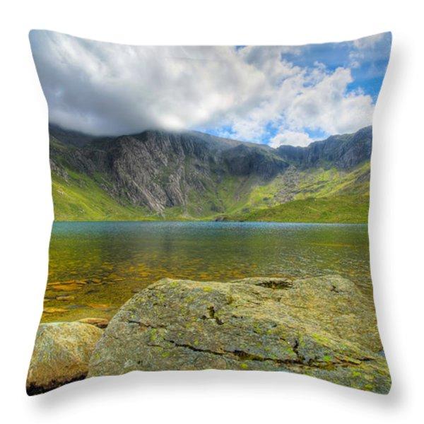 Llyn Idwal Throw Pillow by Adrian Evans