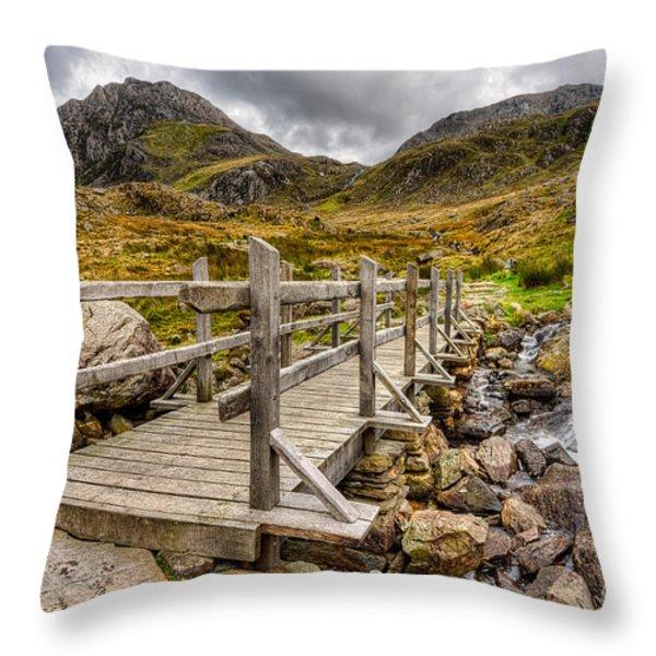 Llyn Idwal Bridge Throw Pillow by Adrian Evans