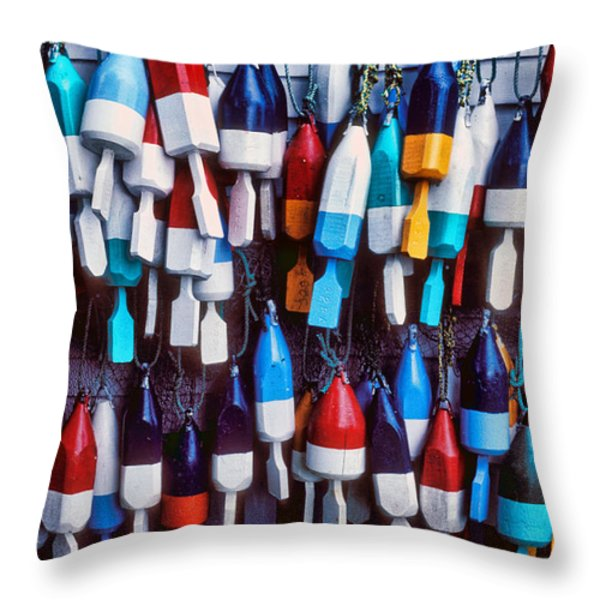 Lobester trap bouys Throw Pillow by Garry Gay