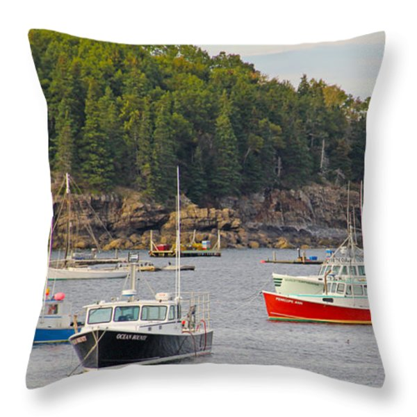 Lobster Boats in Bar Harbor Throw Pillow by Jack Schultz