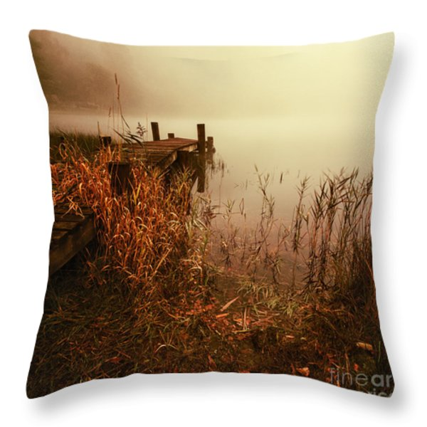 Loch Ard Early Mist  Throw Pillow by John Farnan