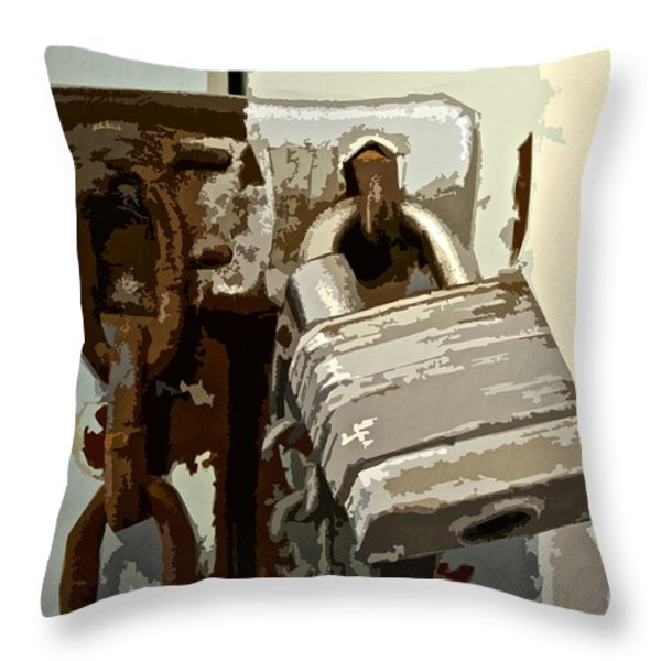 Lock And Chain Throw Pillow by Gwyn Newcombe