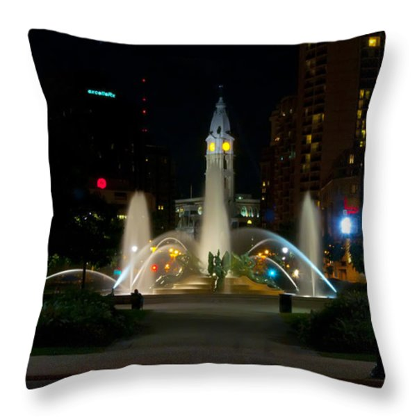 Logan Circle Fountain With City Hall At Night Throw Pillow by Bill Cannon