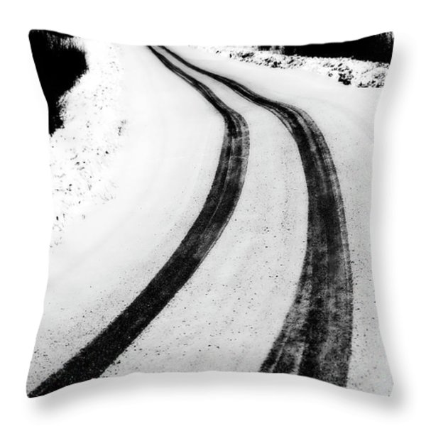 logging road in winter Throw Pillow by Mark Duffy