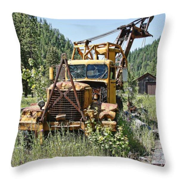 Logging Truck - Burke Idaho Ghost Town Throw Pillow by Daniel Hagerman