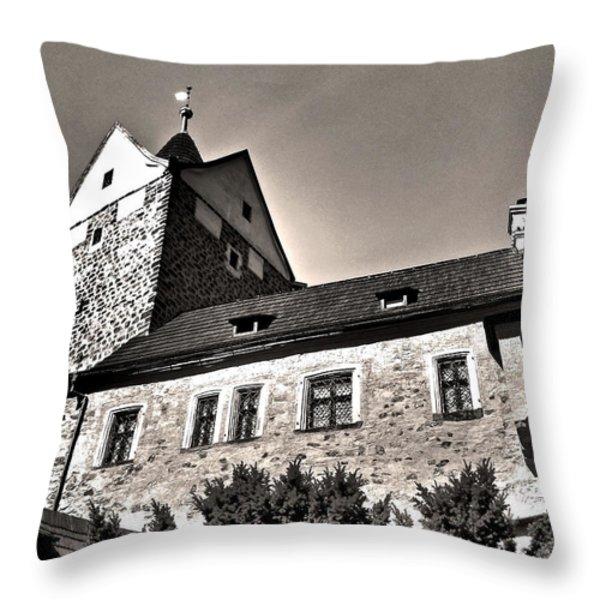 Loket Castle Tower - Czech Republic Throw Pillow by Juergen Weiss