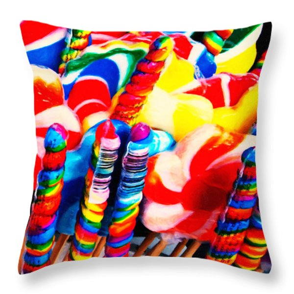 Lollipops - Painterly - Red Throw Pillow by Wingsdomain Art and Photography