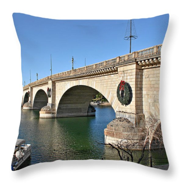 London Bridge Lake Havasu City - The World's Largest Antique Throw Pillow by Christine Till