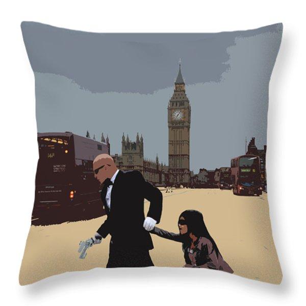 London Matrix Baddie Agent Smith Throw Pillow by Jasna Buncic