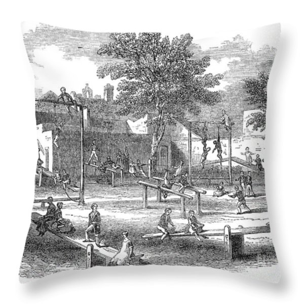London Playground, 1843 Throw Pillow by Granger