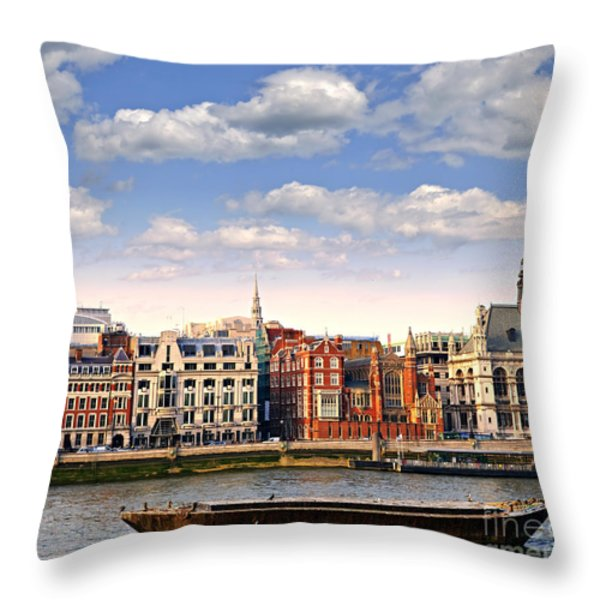 London Skyline From Thames River Throw Pillow by Elena Elisseeva