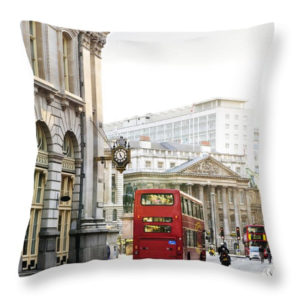 London street with view of Royal Exchange building Throw Pillow by Elena Elisseeva