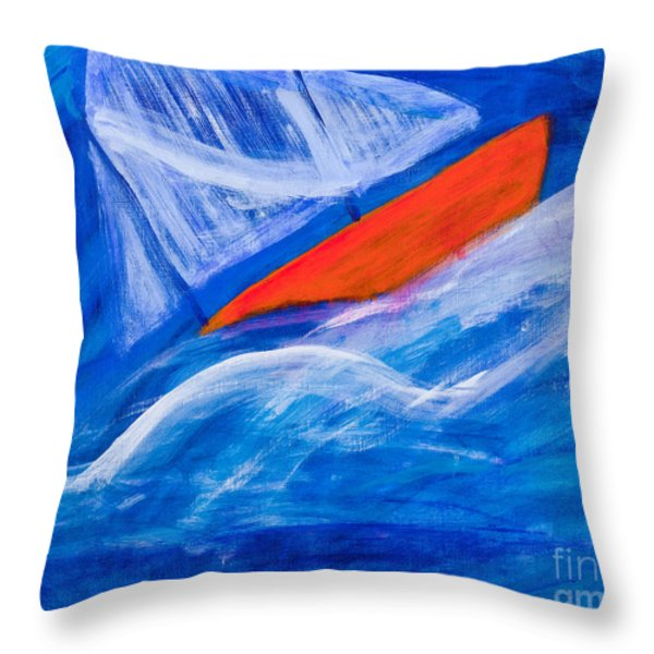 Lone Sailing Boat At Sea Throw Pillow by Simon Bratt Photography LRPS