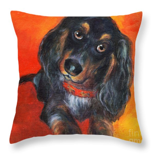 Long Haired Dachshund Dog Puppy Portrait Painting Throw Pillow by Svetlana Novikova