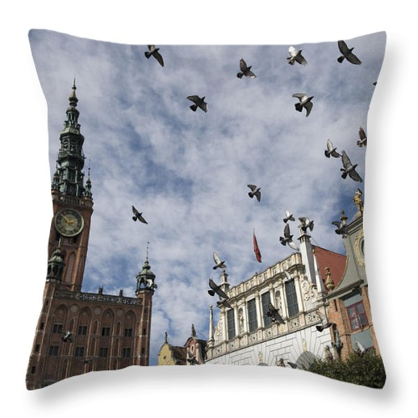 Long Market With Pigeons, Town Hall Throw Pillow by Keenpress