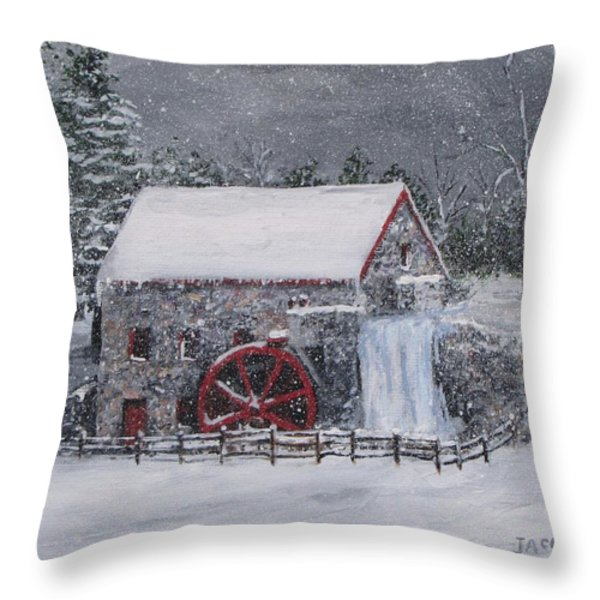 Longfellow's Grist Mill In Winter Throw Pillow by Jack Skinner