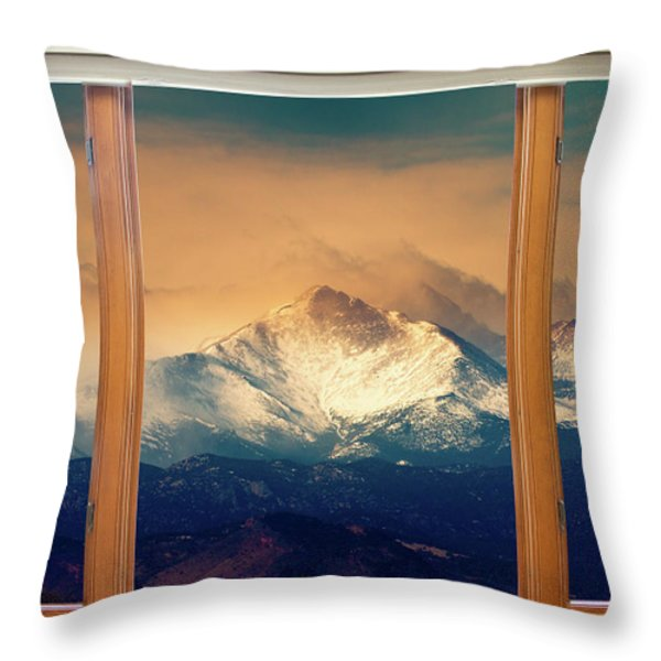Longs Peak And Mount Meeker Wood Window View Throw Pillow by James BO  Insogna