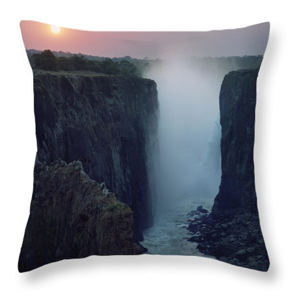 Looking Along Victoria Falls At Dusk Throw Pillow by Axiom Photographic