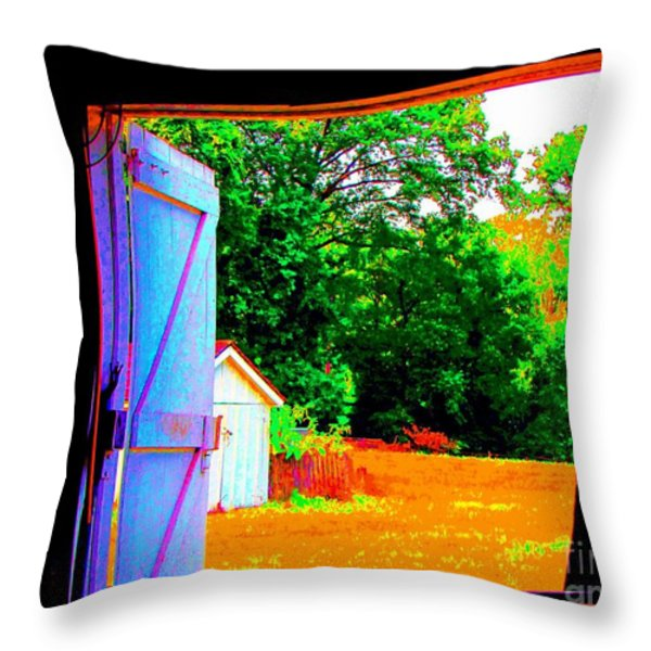 Looking Out The Barn Door Throw Pillow by Annie Zeno