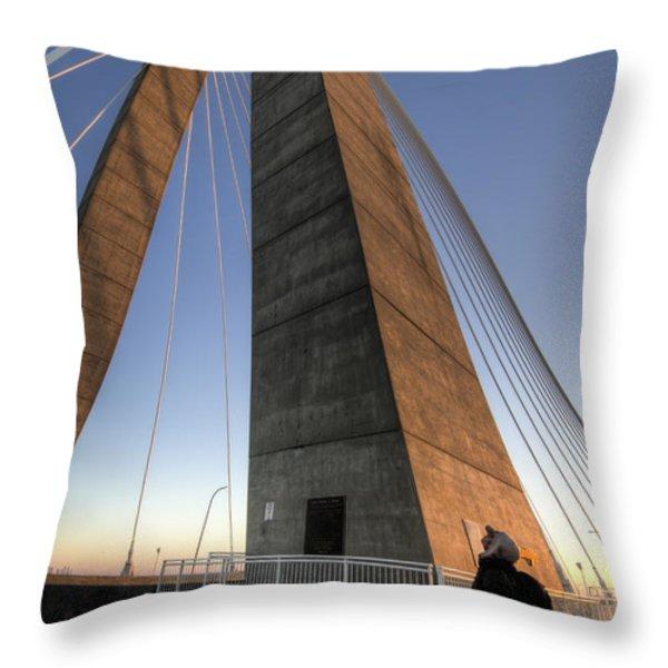 Looking Up Cooper River Bridge Throw Pillow by Dustin K Ryan