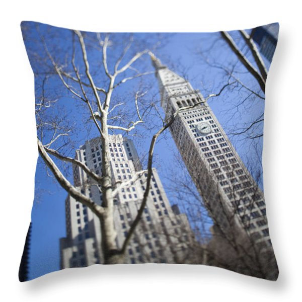 Looking Up Through Trees At Skyscrapers Throw Pillow by Axiom Photographic