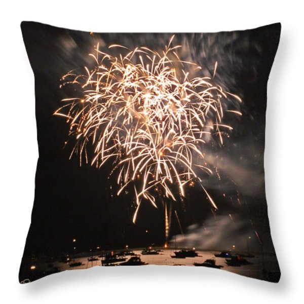 Lopez Island Fireworks 2 Throw Pillow by David Salter