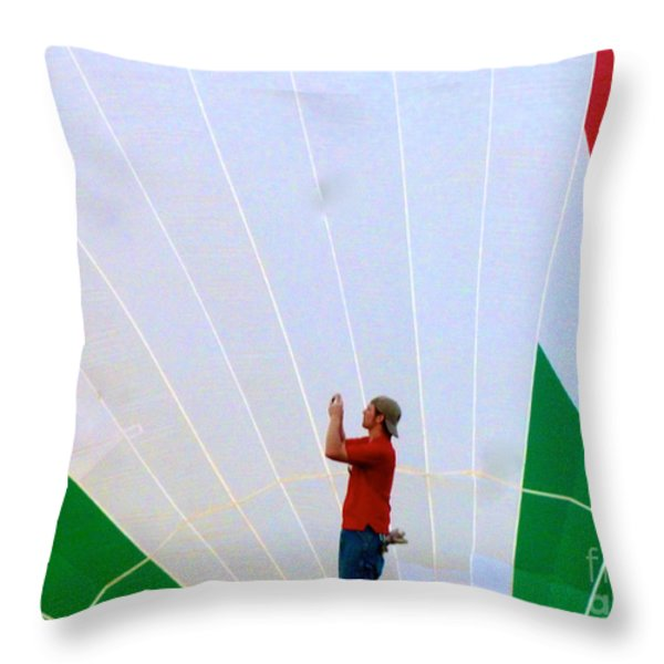 Lost Infront Of The Balloon Throw Pillow by Mark Dodd