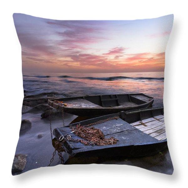 Lost Sailors Throw Pillow by Debra and Dave Vanderlaan