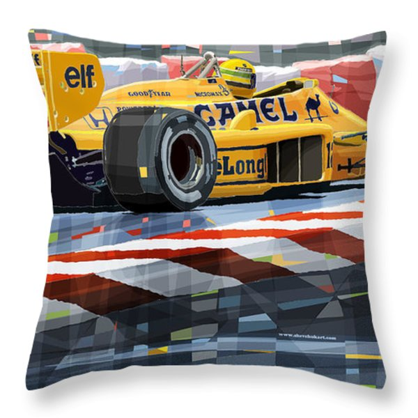 Lotus 99T 1987 Ayrton Senna Throw Pillow by Yuriy  Shevchuk